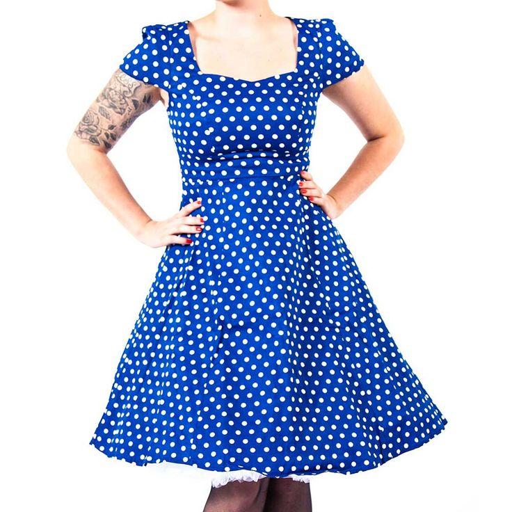 Claudia jurk met witte polkadot stippen blauw - Vintage 50's Rockabilly retro