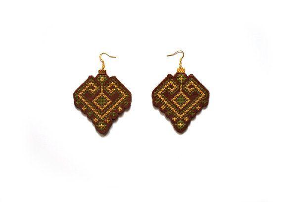 Leather Earrings  Statement Embroiderer Earrings  by EtnoWareStore