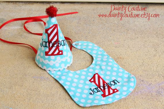 Boys 1st Birthday Party Hat and Bib  Darling aqua by daintycouture, $43.00
