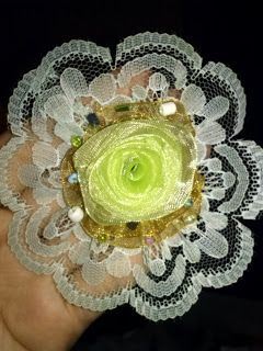 green flower ribbon and lace brooch
