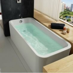 This stunning new Roca bath is so contemporary! We love the curved edges.