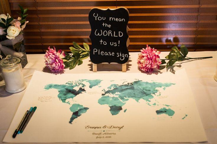 World map guest book | Banff summer wedding from Raraa Photography