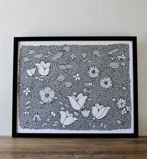 Monochrome Flowerbed 16x20 print by Brainstorm