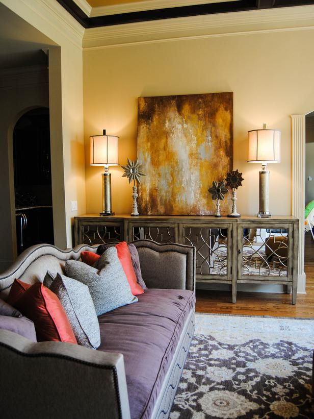 i love the sideboard. TRANSITIONAL LIVING ROOM WITH CUSTOM PAINTING