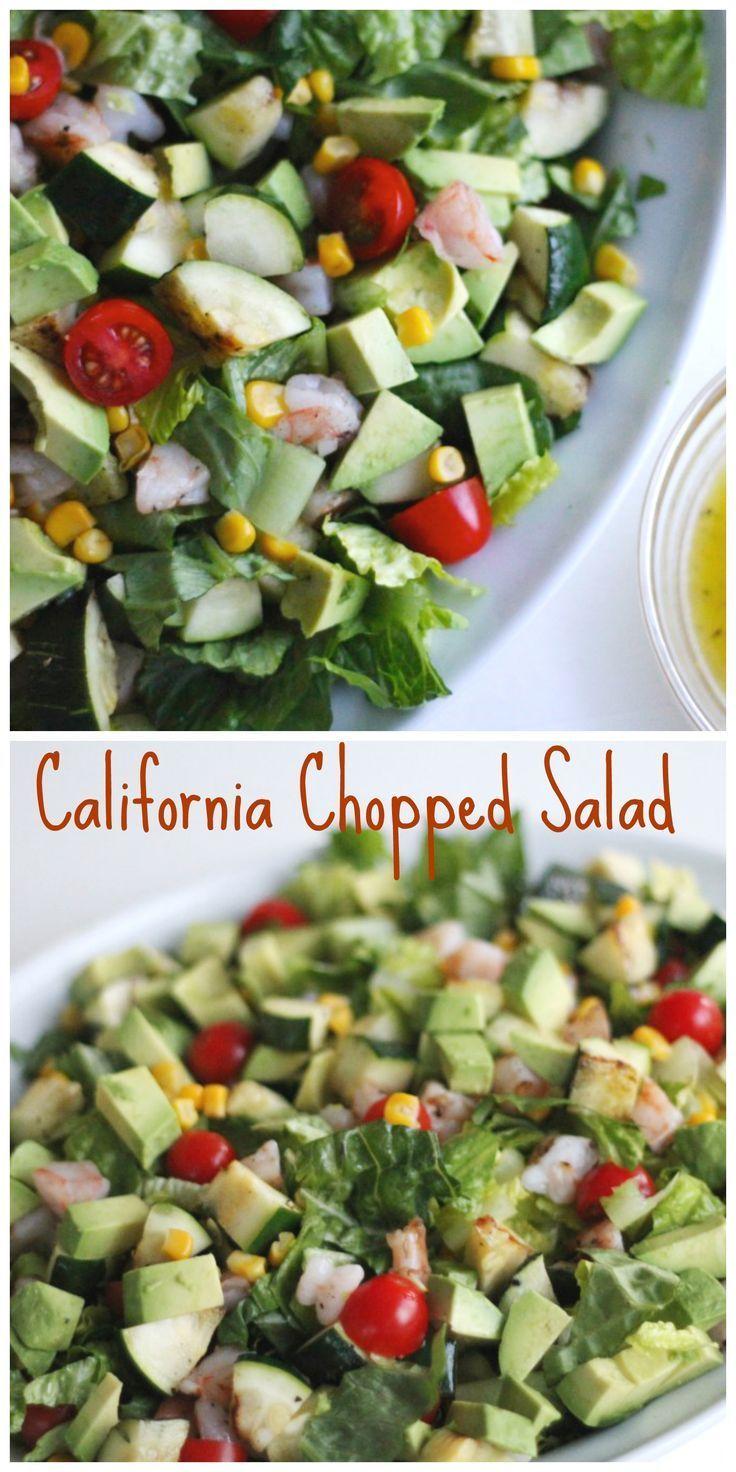 California Chopped Salad Is A Light Refreshing Main Dish Salad Shrimp Avocado Veggies And Light Vinai Chopped Salad Vegetable Side Dishes Main Dish Salads