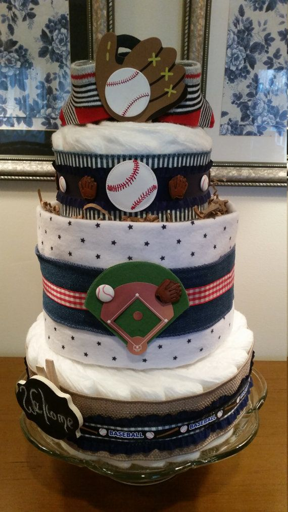 Baseball Diaper Cake Denim and Burlap Ribbon by ItsUpInTheAttic