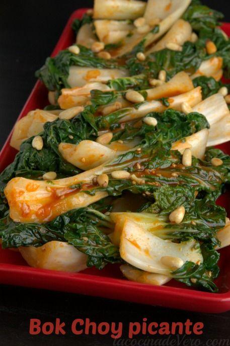 Bok Choy picante al estilo coreano #ComidaCoreana #vegetariano