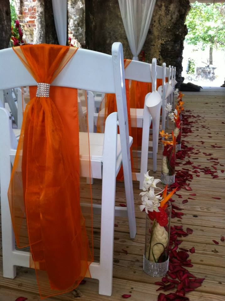 Orange chair sashes with some bling