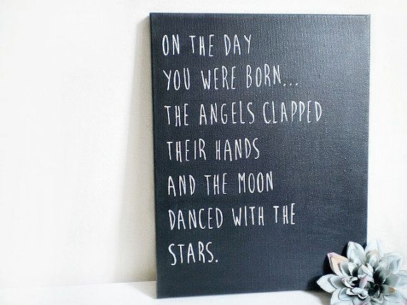 Baby Nursery Canvas , Baby Quotes & Sayings , 11 x 14 Canvas Art , Baby Room Decor , Nursery Wall Art , Baby Shower Gifts , Moon and Stars