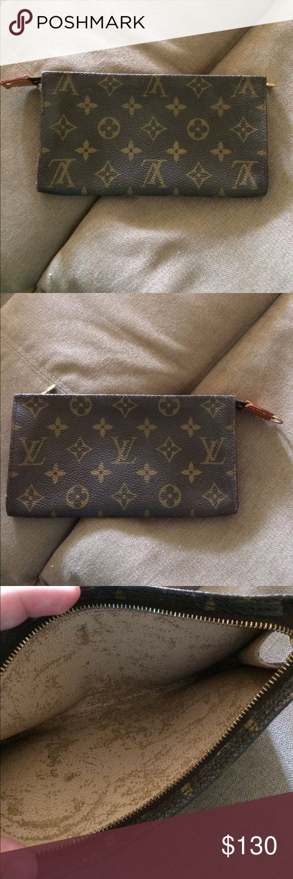Louis Vuitton Pouchette Louis Vuitton small pouchette. The lining inside the bag is peeling somewhat as evidence by photo. Perfect size bag for a night out Louis Vuitton Bags Clutches & Wristlets