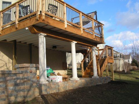 Covered deck designs patio deck and walkout basement for Walkout basement patio