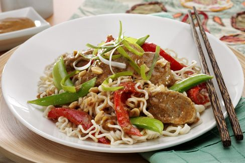 Kick up the flavor with this spicy Thai pork with vegetables and sesame noodle recipe.