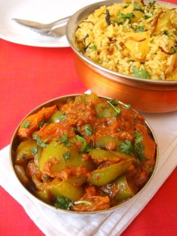 A recipe you can serve at a potluck with any flavored rice or Naan or simple phulkas. The nutty flavor of peanuts and sesame seeds mingles well with the tart taste of tomatoes and sweetness of capsicums.