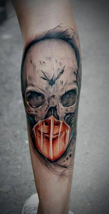 Colour Skull (Clock) Tattoo By Bacanu Bogdan #tattoo #tattoos #cheltenham #cheltenhamtattoo #realism #realistic #skull #half #alive #clock #time #death #hand #hot #for #guys #men #no #regrets #studio #noregretsstudio