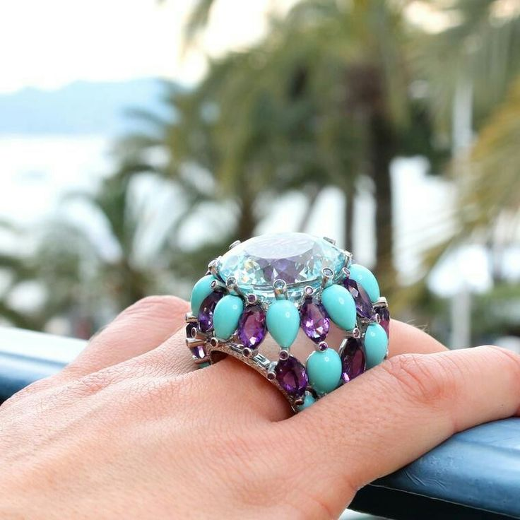 Our Insta followers loved this huge cocktail ring in de GRISOGONO's signature hues  from the Swiss jeweller's Melody of Colours collection. Snapped behind the scenes at the Cannes Film Festival, drops of faceted Amethysts and smooth Turquoise cabochons rain down from the 36-carat Aquamarine in our fifth most-liked Instagram post in May.
