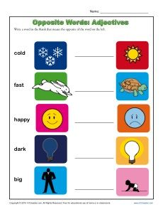 Kindergarten Adjectives Worksheet - Opposite Words
