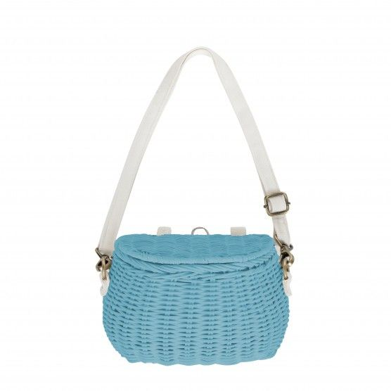 Minichari Bag - #Blue - a #woven #wicker #bag perfect for the #child on the go! Sling it over your shoulder or strap it on a #bike!