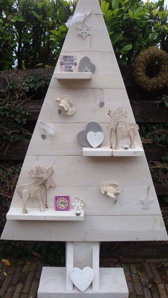 Inpirerende teksten op canvas - Kerstboom whitewash. Gemaakt door Leeuw-design