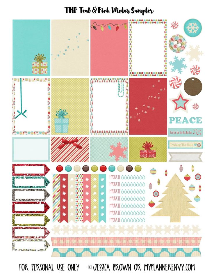 Teal & Pink Winter Sampler for The Happy Planner