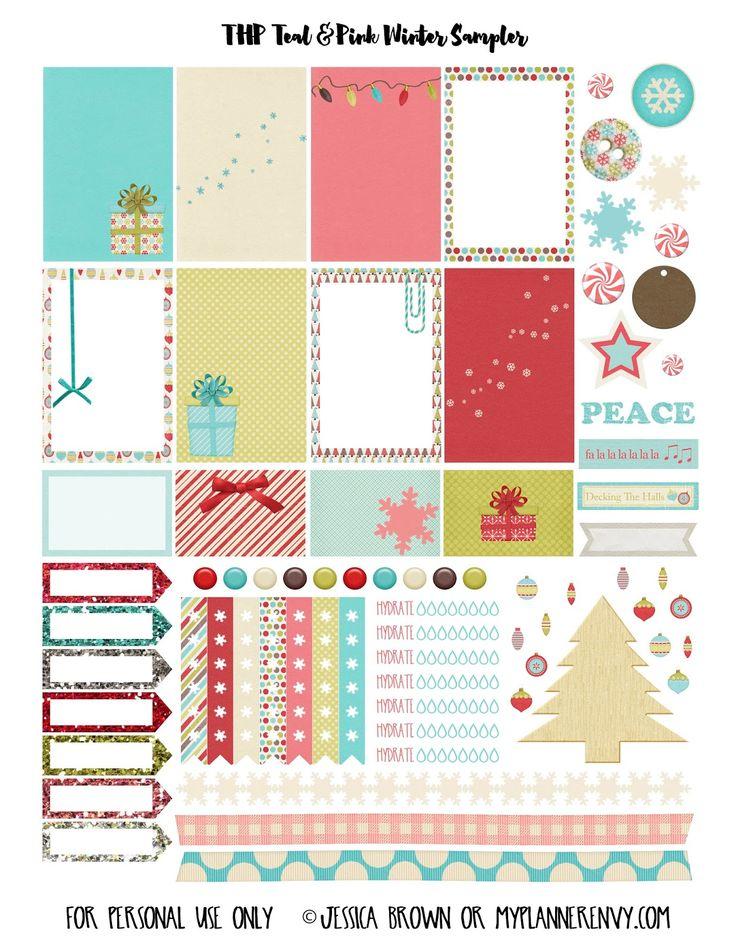 Teal & Pink Winter Sampler for The Happy Planner