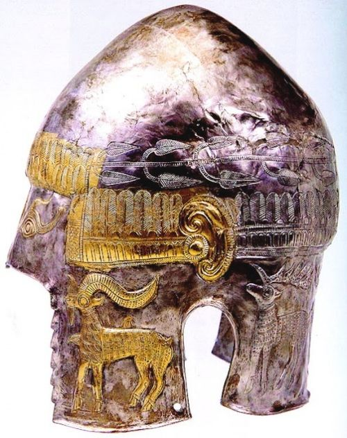 Thracian:  The Helmet of Agighiol is a Geto-Dacian silver helmet dating from the 5th century BC, housed in the National Museum of Romanian History, Bucharest. It comes from the Agighiol area, in the Tulcea County, Romania. The helmet is similar to the Helmet of Coţofeneşti and three other Getian gold or silver helmets discovered so far.