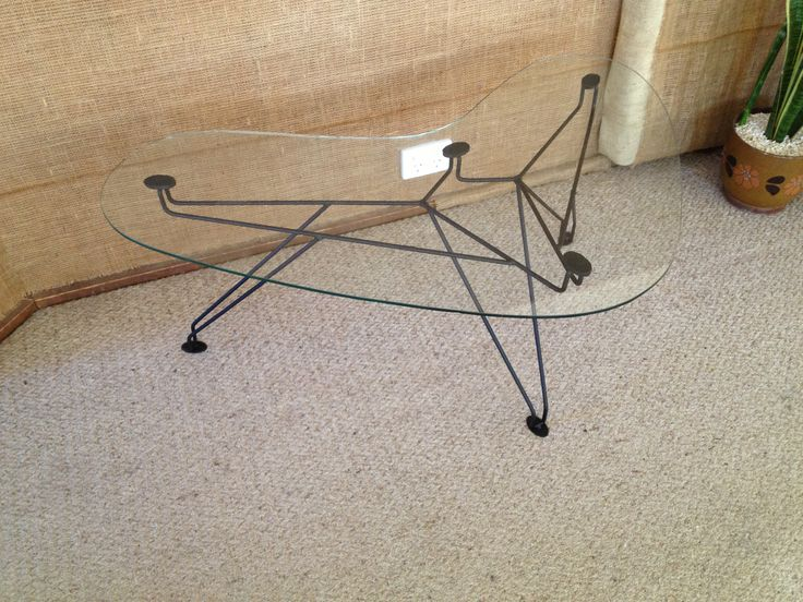 50s Style Glass Boomerang Coffee Table By Kurrlson Ind