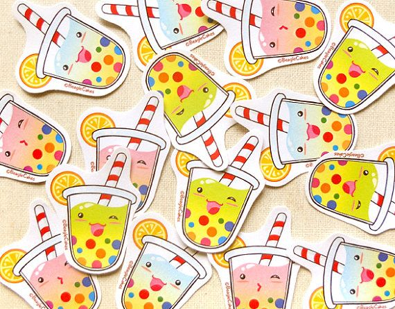 Cute Summer Tropical Tapioca Bubble Tea Sticker by BeagleCakesArt