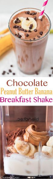 Chocolate Peanut Butter Banana Breakfast Shake Vegan • Gluten free • 5 mins to prepare • Serves 2