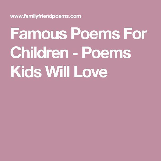 Famous Poems For Children - Poems Kids Will Love