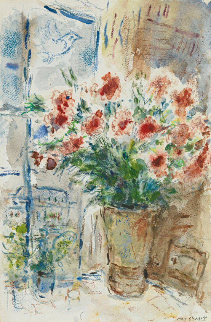 Bouquet rouge au quai d'Anjou (1972), une oeuvre de Marc Chagall (1887-1985)  (Paris 4ème)