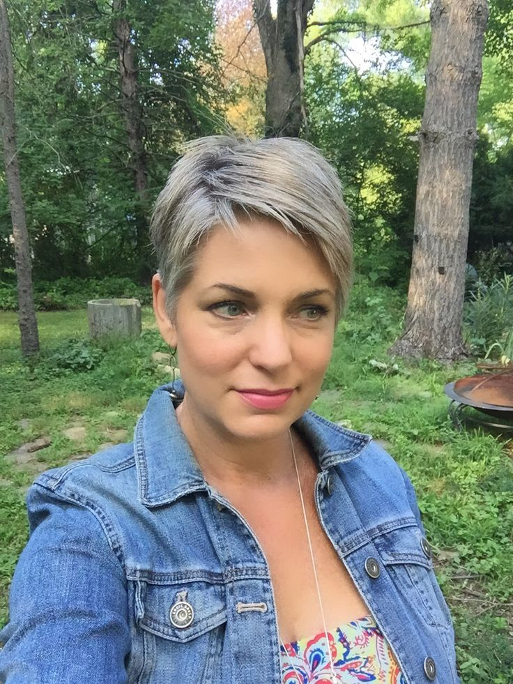 Stephanie Weisend- Short Gray Hair, Short gray pixie, short grey hair, silver hair