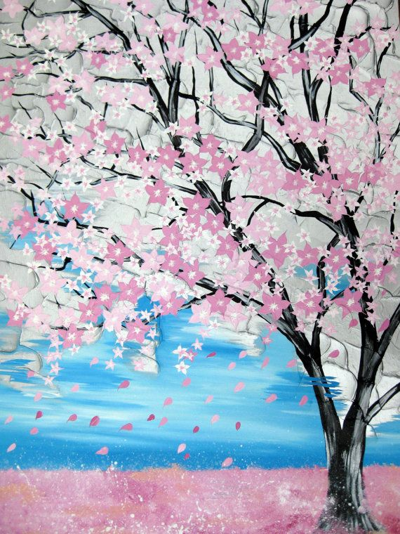 On sale pink cherry blossom painting  large painting by SheerJoy.etsy.com