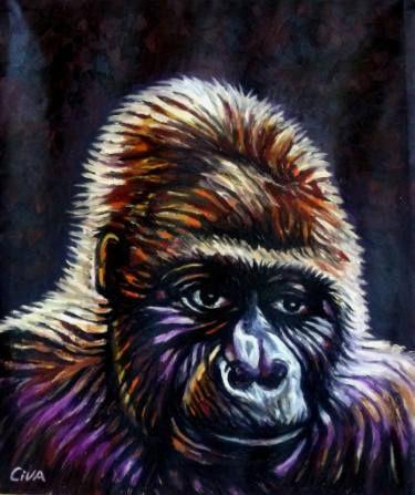 "Saatchi Art Artist Dan Civa; Painting, ""Gorilla portrait"" #art"