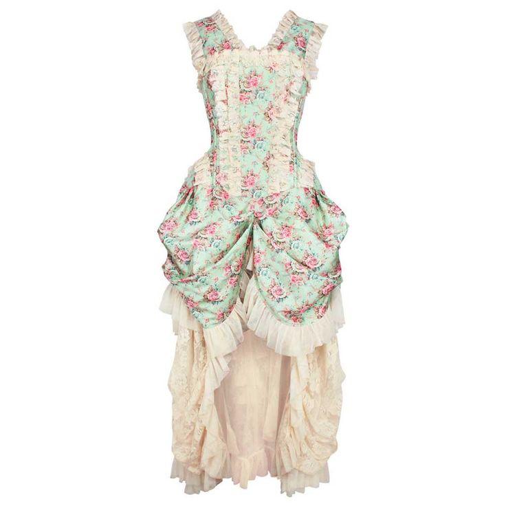 VG London Victoriaanse gedrapeerde taffeta korset jurk met bloemen pri