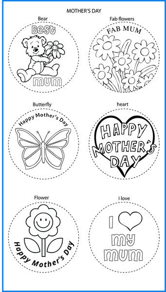Mothers Day Mixed Designs - Colour In Yourself Badges