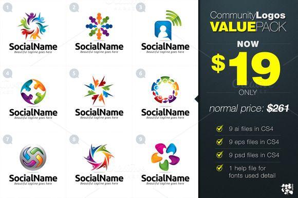 Check out 9 Community Logo Value Pack by KitCreativeLogo on Creative Market
