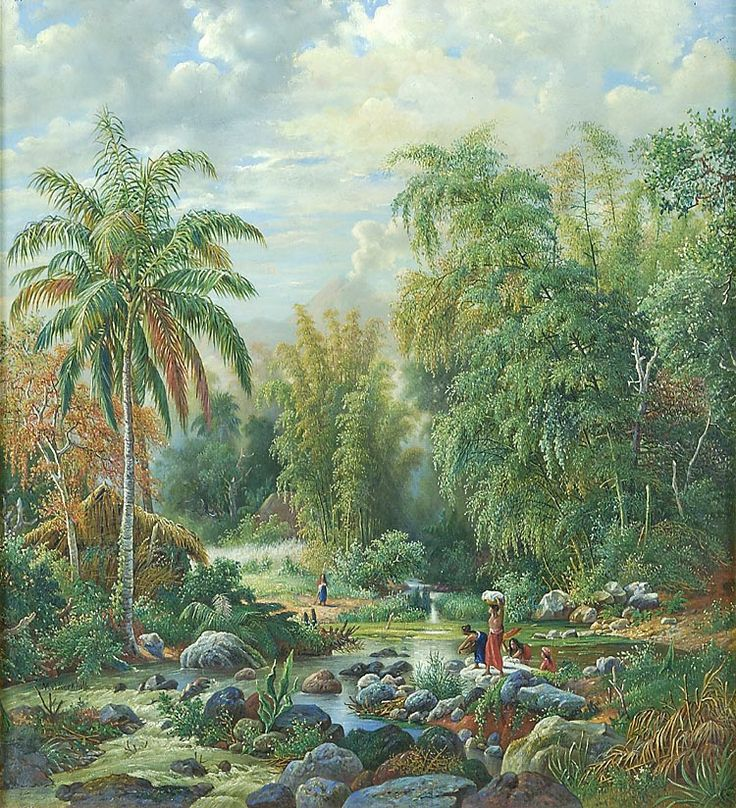 Olieverfschildering door M.E.H.R. van den Kerkhoff voorstellend een landschap bij Malang,  58 x 63 cm