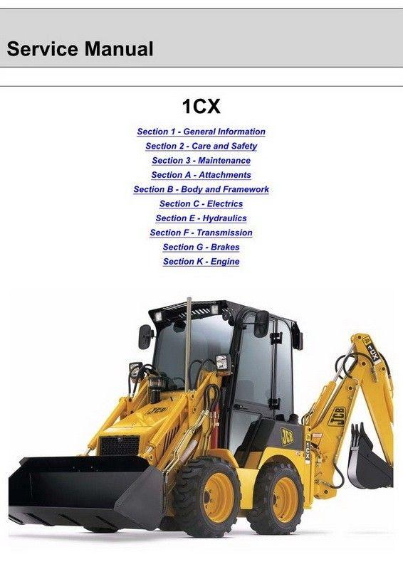 JCB 1CX 208S Backhoe Loader Service Manual 9803 9960 1