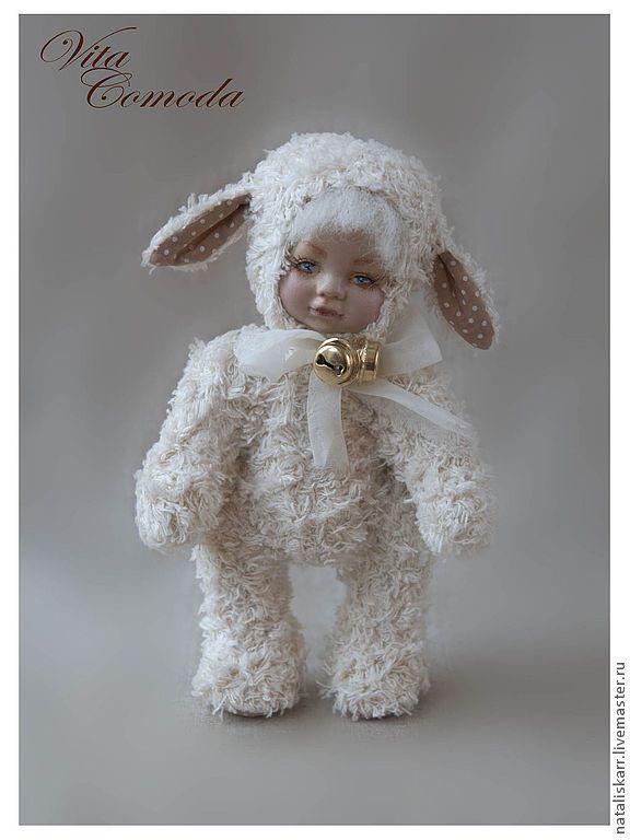 Купить Овечка Орланда. Тедди-долл - кремовый, золотой, овечка, тедди, тедди-долл