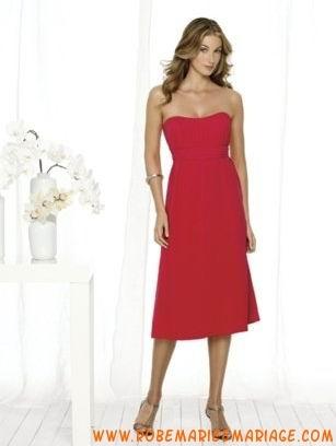 Rouge sans bretelle mousseline robe demoiselle d'honneur