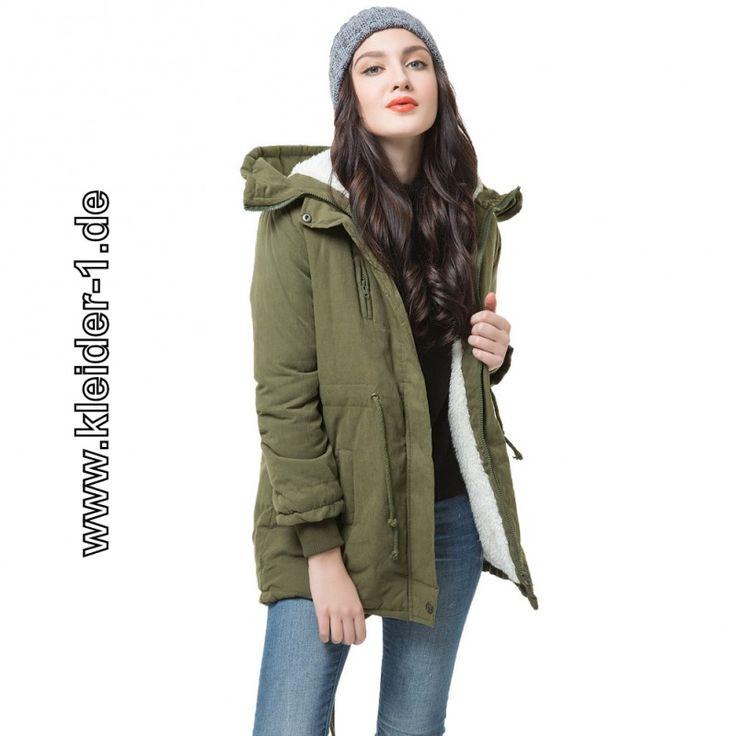 Damen Fleece Parka Mantel mit Kapuze in Grün