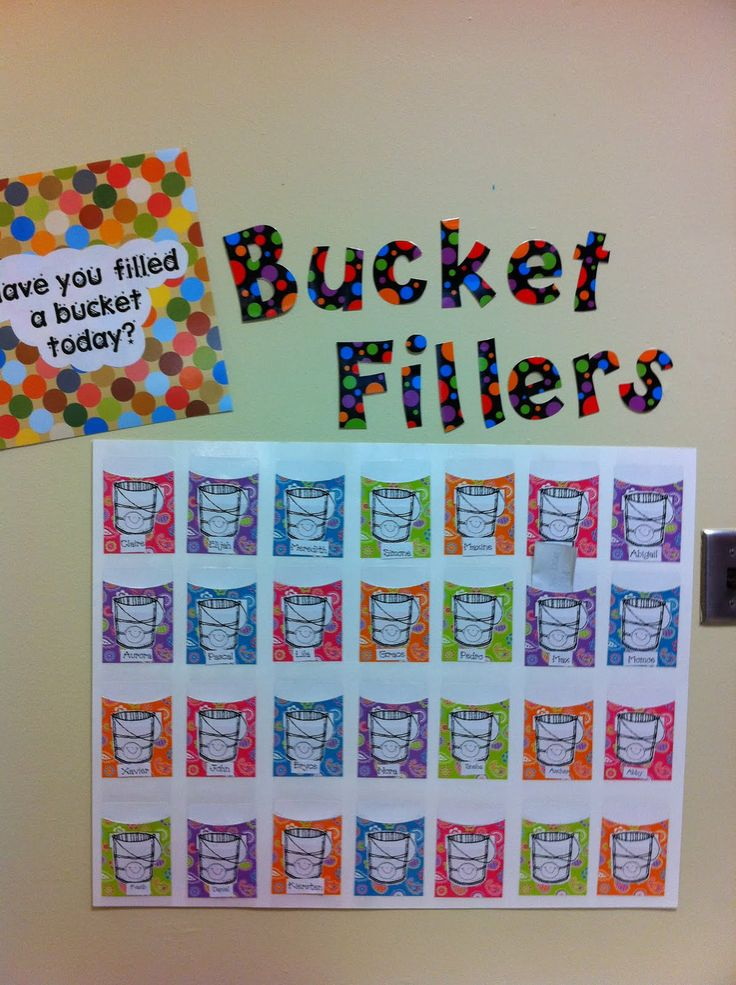 bucket filler - put buckets on the front of library envelopes with their name?