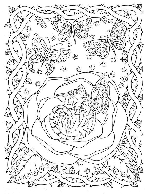 Instant Download Coloring Page Kitten In Rose From The Fantasy Etsy Cat Coloring Book Coloring Pages Butterfly Coloring Page