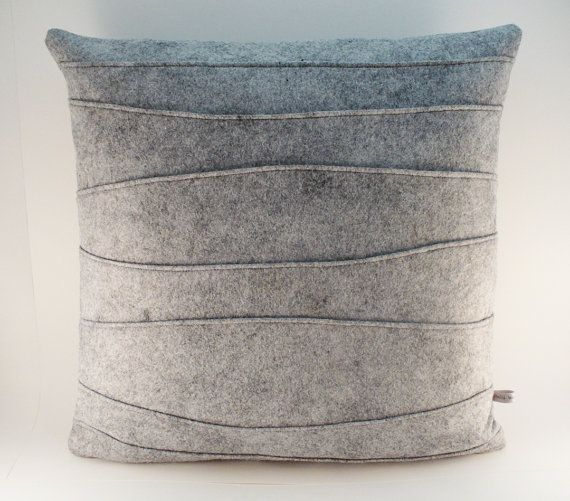 Gray Pillow Decorative Pillow Felt Pillow by SheilaWeilStudios, $59.00