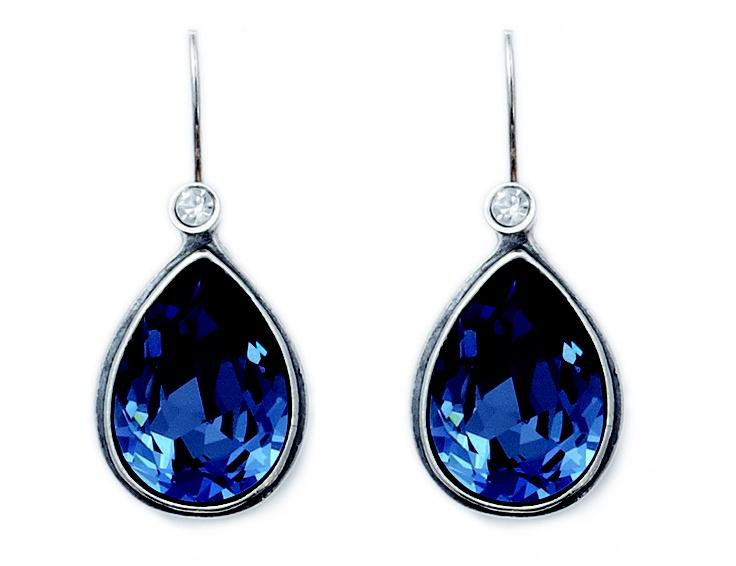 Denim Blue Swarovski Crystal teardrop earrings with detachable crystal french wires (E2258)