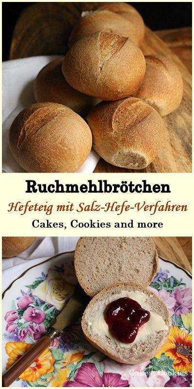 Ruchmehlbrötchen - Rezept für Hefeteig mit Salz-Hefe-Verfahren #ruchmehl #brötchen #hefeteig