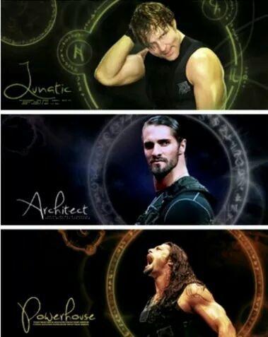 The Shield: Dean Ambrose (U), Seth Rollins (M) and Roman Reigns (L)