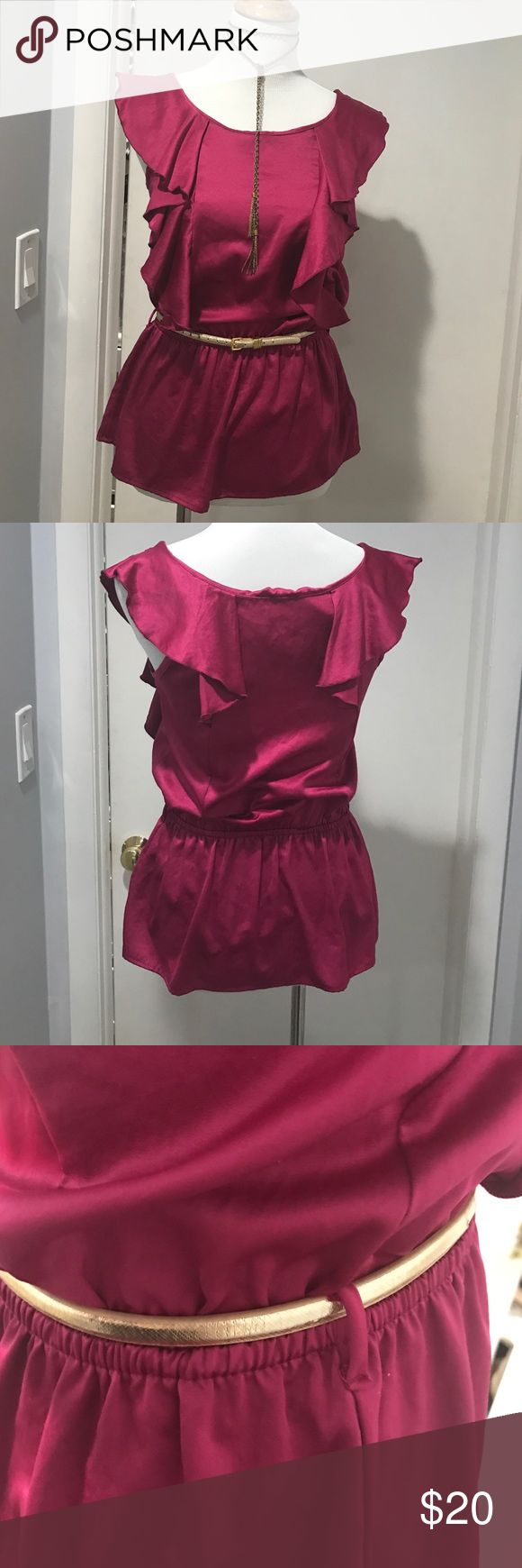 Hot pink shirt Hot pink shirt with skinny belt loops. Belts and jewelry not included. Tops Blouses