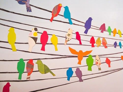 Birds on a wire group collage. This would be good for patterne, painted paper or collaged birds