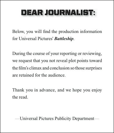 "This is how Universal warns us journalists not to include spoilers in our reviews of ""Battleship"". Okay. So I won't. But still, us humans win. :)"